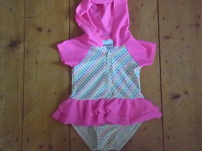 Swimsuit,rashie, With Hood. Sz:2. Heart Print, Frills, Very Cute. As New Cond