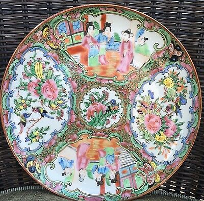 Antique 19th Century Chinese Export Rose Medallion Porcelain Plate