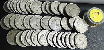 Full Roll of Average Circulated 1938-D Jefferson Nickels (40 Coins)