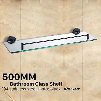 Bathroom Shower Single Glass Shelf Storage Holder Black Rectangular Design 500mm