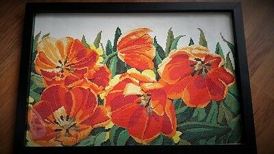 Cross Stitched Frame - Flowers