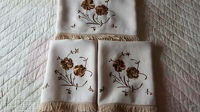 Vintage 1950's Floral Embroidered Chair Backs Fringe Project Many Uses