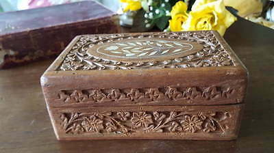 Vintage 1900's Carved Wooden inlaid Box Treen Collector
