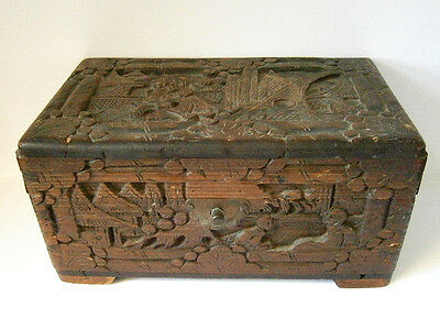 Very Old Vintage Chinese Hand Carved Camphor Wood Box