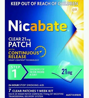 6 X Boxes of Nicabate 21mg Clear Patches. 14mg or 7mg also available.