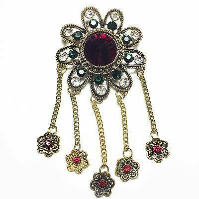 Vintage Antique Red Round Ruby Green Emerald Crystal Floral Dangling Brooch
