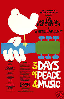 The Greatest  Music Festival : Woodstock Psychedelic Concert Poster 1969