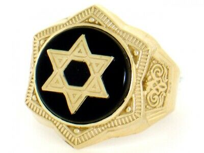 10k or 14k Solid Gold Onyx Star of David Enamel Mens Ring