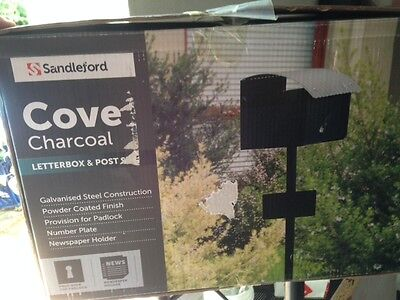 Sandelford Cove Charcoal mailbox letterbox+ post galvanised steel, powder coated