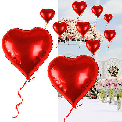 10PCS Red Heart Love Foil Helium Balloons Valentines Wedding Engagement Party