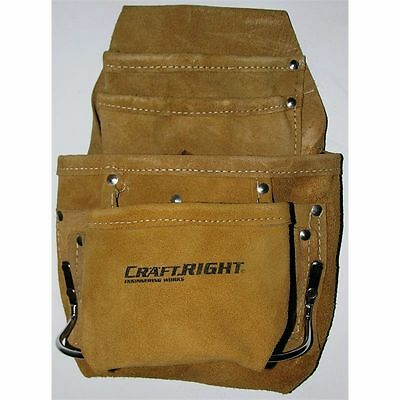 Professional Trade Quality genuine leather 10 pocket Riggers Nail and Tool Pouch