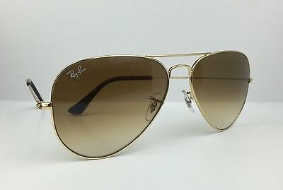 Ray Ban RB3025 001/51 Brown Gradient Aviator Gold Metal Frame Sunglasses 58mm