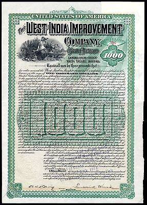 Jamaica: West India Improvement Co.,  1st mortgage 4% bond for $1000, 1889