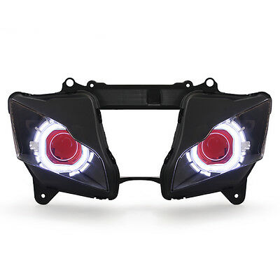 KT LED Angel Eye Headlight Assembly for Kawasaki ZX-10R 2011-2015 Red square