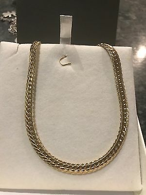 Collier Maille Anglaise En Plaque Or