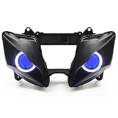 KT LED Angel Eye HID Headlight Assembly for Kawasaki ZX-10R 2011-2015 Blue Round