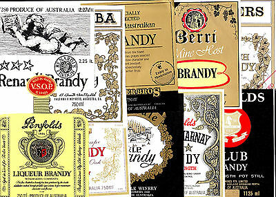 Collectable Brandy labels - Set of 10 assorted metric brandy labels (MINT)