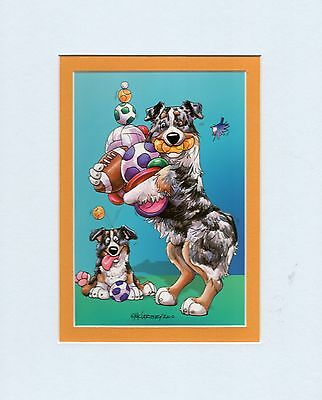 Mini Print Australian Shepherd Dog by Mike McCartney