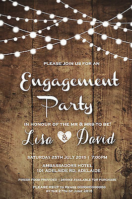 Engagement Party Invite Invitation Rustic Wood Shabby Chic