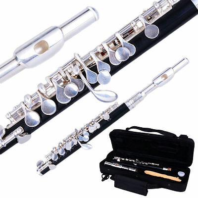New Professional Woodwind Beginner Silver C Key Piccolo with Case + Cloth