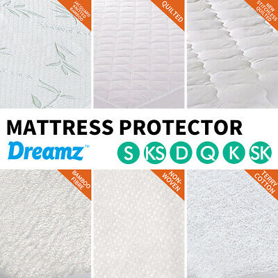 DreamZ Mattress Protector Waterproof Fitted Sheet Cover Queen Double King Single
