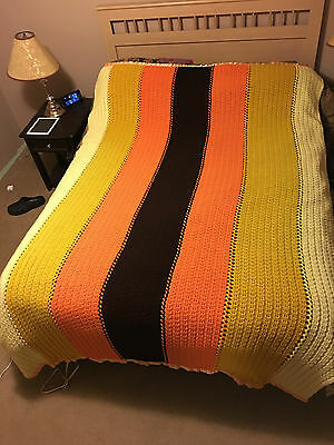 """Warm Retro 70's looking Afghan 96""""X70"""" Harvest Gold,Brown,White Striped"""