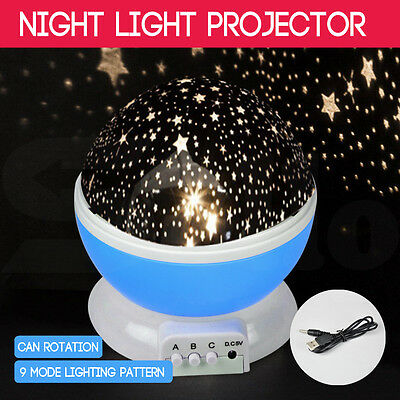 Star Moon Sky Starry Night Projector Light Lamp For Kids Baby Bedroom