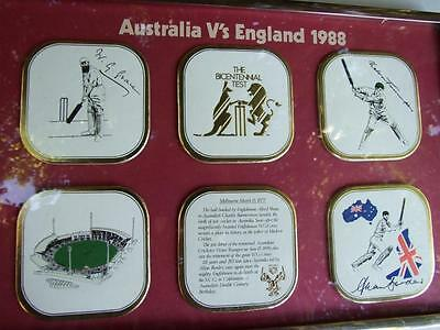 AUSTRALIA V's ENGLAND 1988 THE BICENTENNIAL TEST  W CRICKET Coasters Signed