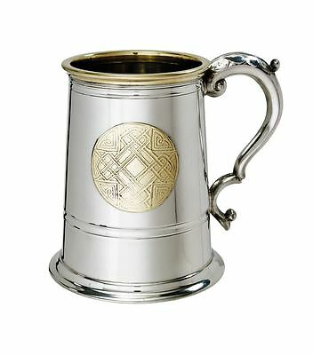 1 Pint Celtic Gold Pewter Tankard With Free Engraving