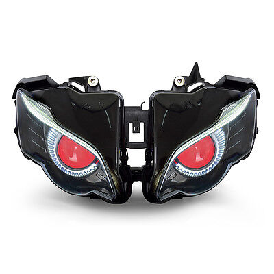 KT LED Halo Eagle Eyes HID Headlight Assembly for Honda CBR1000RR 2008-2011 Red