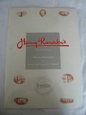 1989 Collectable Harry Ramsden Share Offer Subscription Pamphlet