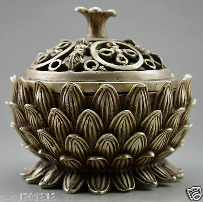 Collectible Decorated Old Handwork Tibet Silver Carved Lotus Incense Burner