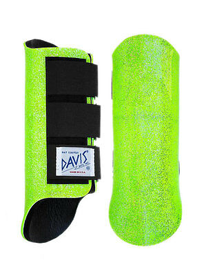 Davis Horse Boots Tendon Brushing Jumping Classic Lime Green Glitter Size Large