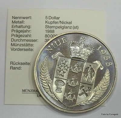 "Niue Islands, 5-Dollar 1988 ""Franz Beckenbauer"" Stgl."