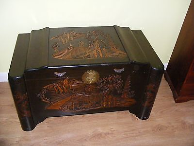 Beautiful Antique Chinese Camphur Chest - Blanket Box - Trunk - Carved Details