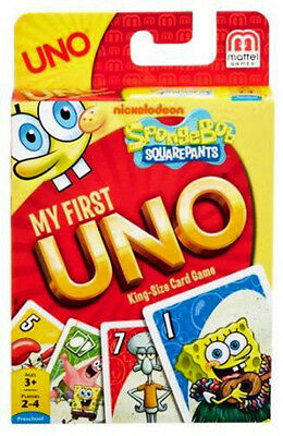 My First Uno Spongebob Squarepants King Size Cards Mattel Games Brand New Y1541