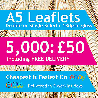 A5 Full Colour 130gsm Gloss Flyers / Leaflets ~ Single Sided or Double Sided