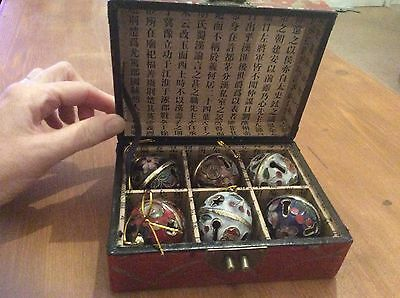 Boxed set of 6 Chinese decorative hanging baubles from The Nine Schools