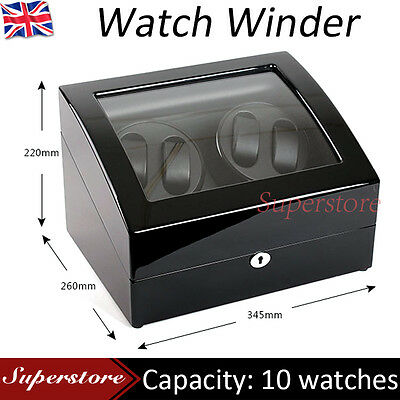 Quad Black Piano wood Automatic Watch Winder Display Box 4 + 6 Leather storage