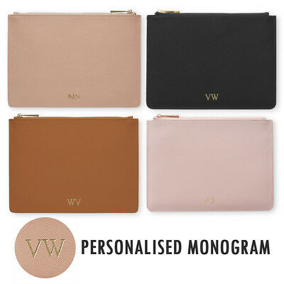 PERSONALISED MONOGRAM Womens Ladies Leather Pouch Clutch Hand Bag Gift