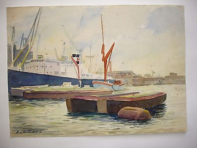 VINTAGE WATERCOLOUR sketch by H J WILLIAMS Shipping on the Thames