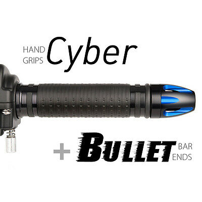 Magazi motorcycle Cyber grips black with Bullet bar ends blue/black