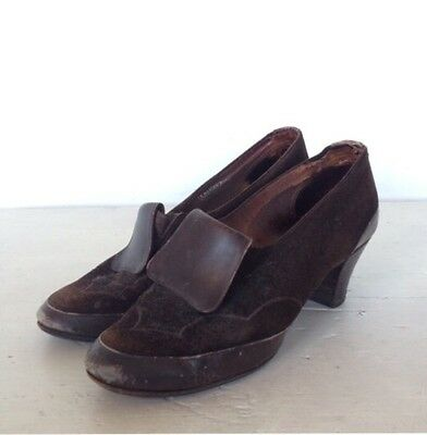Vintage 40s WW2 Tab Front Brown Suede & Leather Court Shoes Loafers Heels 1920s