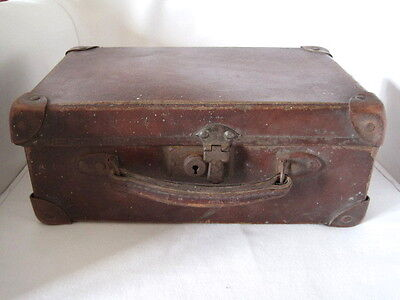 Vintage 1940s Small Childs Leather Trim Suitcase WWII Evacuee Wartime Prop