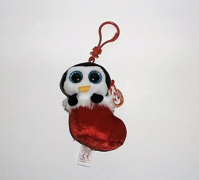 Ty Christmas Baby Beanies Earmuffs the Penguin in Stocking Bag Clip Plush Toy