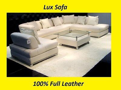 Large Modern 100% Genuine Real Leather Corner Sofa Settee Suite [*Top Quality