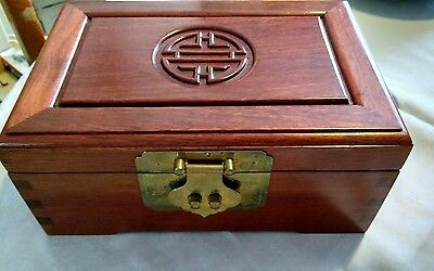 Antique Chinese Wooden Jewellery box Engraved with Four Blessings