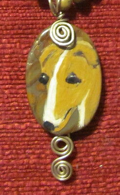 Whippet hand painted on wire wrapped, oval Marble pendant/bead/necklace