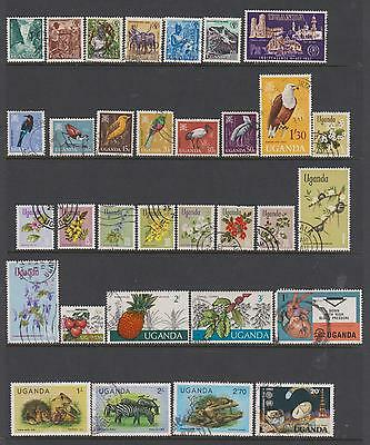 Uganda Collection from 1962 - 39 used stamps on 2 pages
