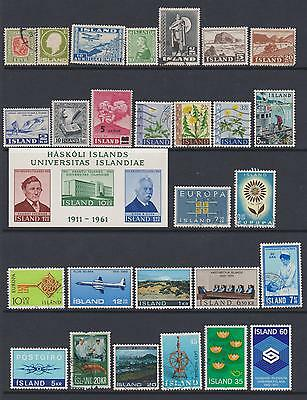 Iceland 1907-80 Collection of 36 mint & used stamps + unmtd mint miniature sheet